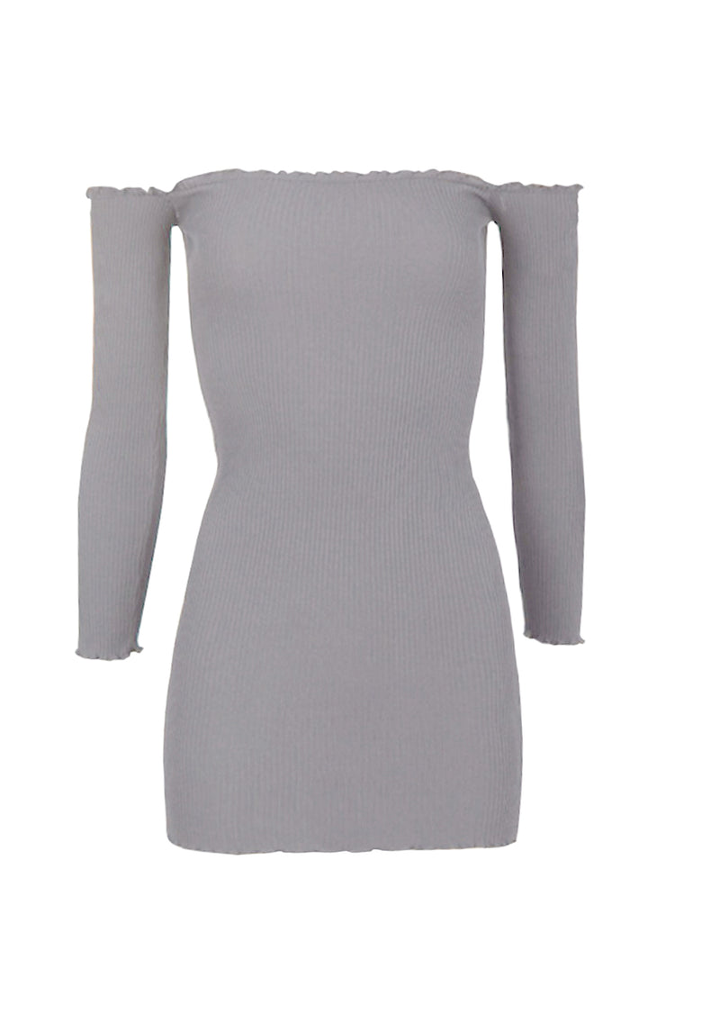 Grey Bardot Ruffle Detail Knit Dress