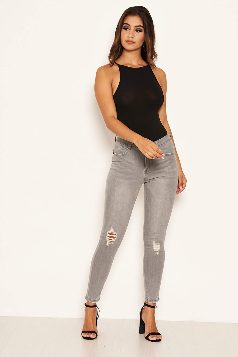 Grey High Waisted Jeans