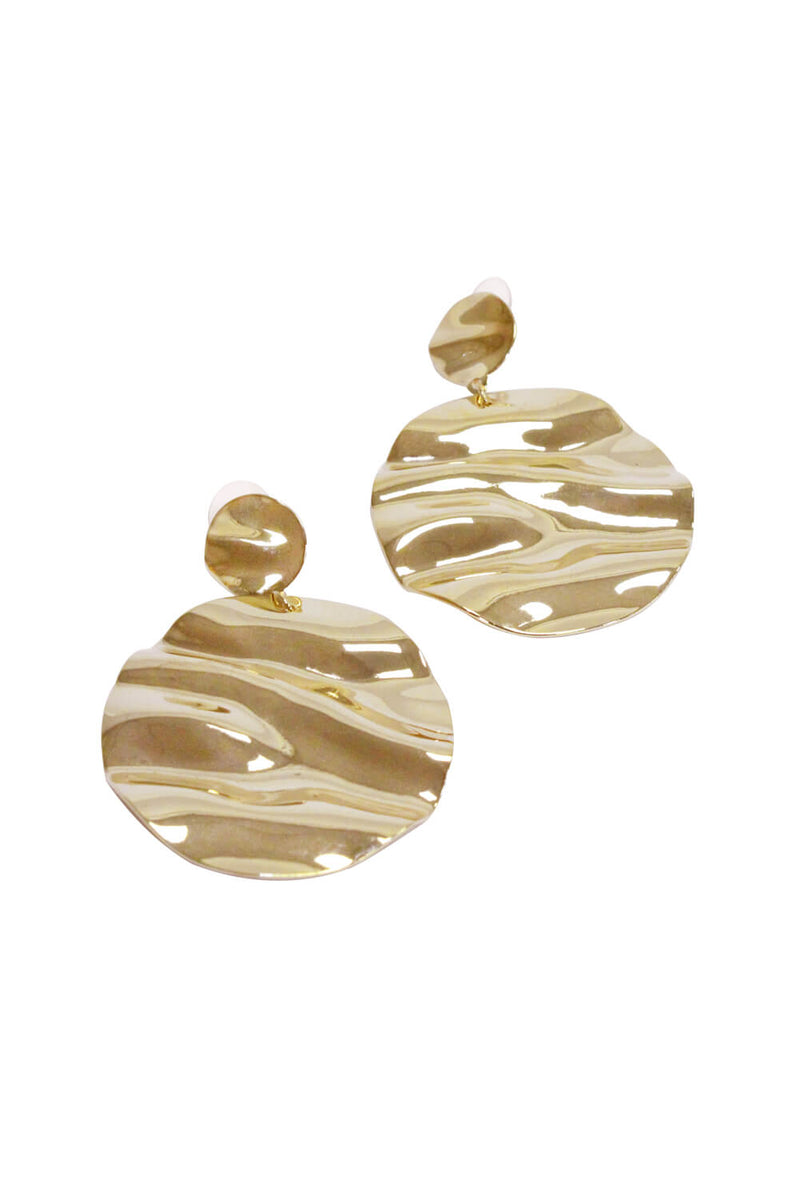 Gold Circle Hammered Earrings