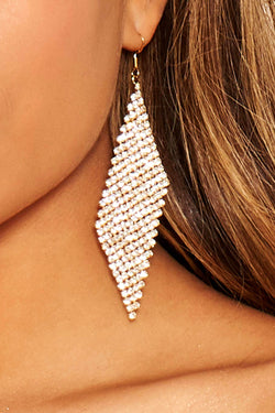 Gold Diamante Diamond Shaped Earrings