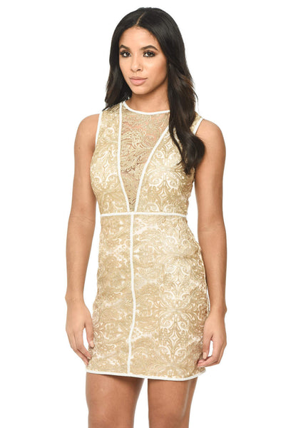 Gold Embroidered A Line Dress