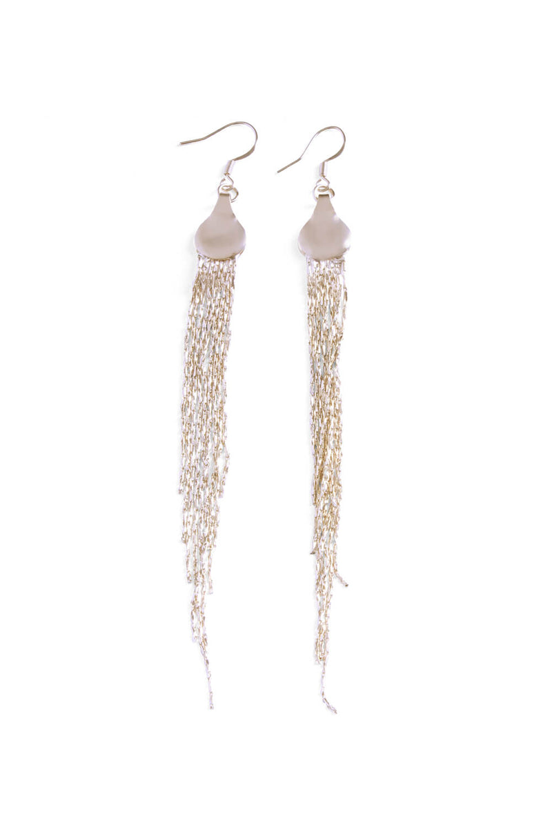 Gold Fringed Chain Sleek Drop Down Earrings