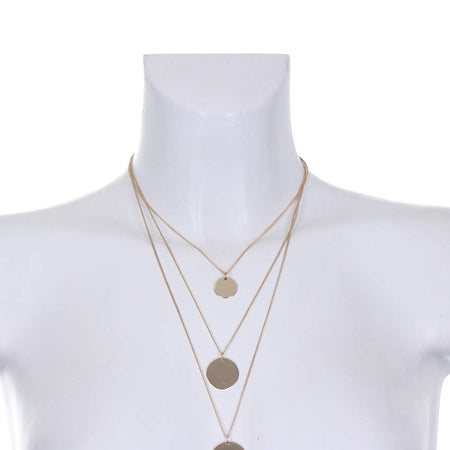 Gold Layered Necklace with Circle Pendant