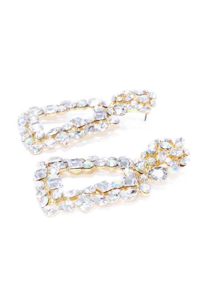 Gold Look Diamante Iridescent Statement Earrings