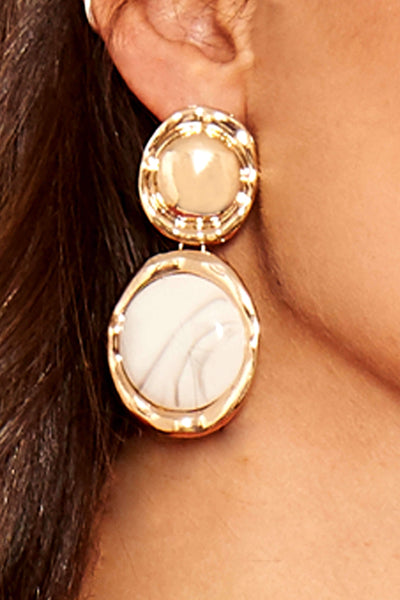 Gold Marble Circle Earrings