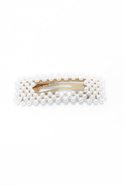 Gold Oversized White Pearl Rectangle Hair Clip by Ax Paris