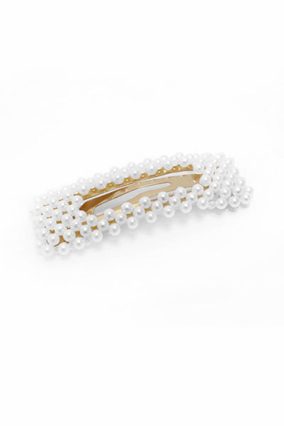 Gold Oversized White Pearl Rectangle Hair Clip