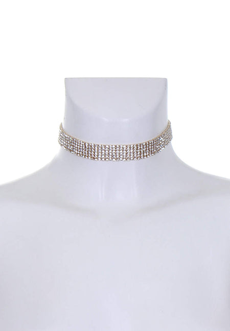 Gold Diamante Lariat Necklace