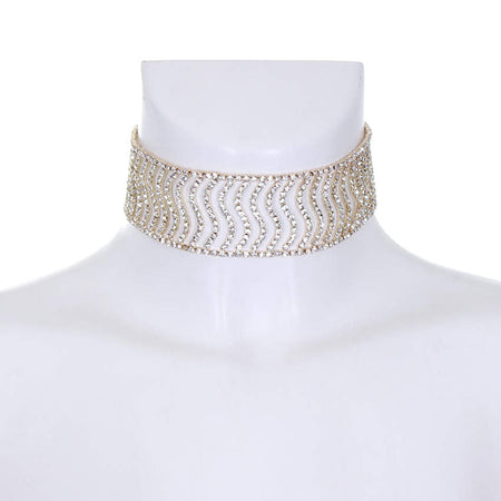 Gold and Silver Diamante Wave Choker