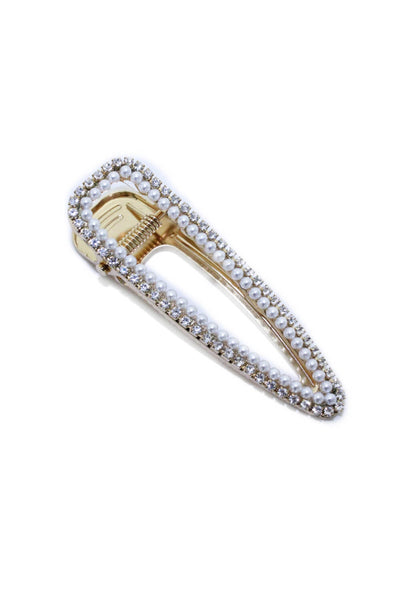 Gold Large Crystal and Pearl Hair Clip