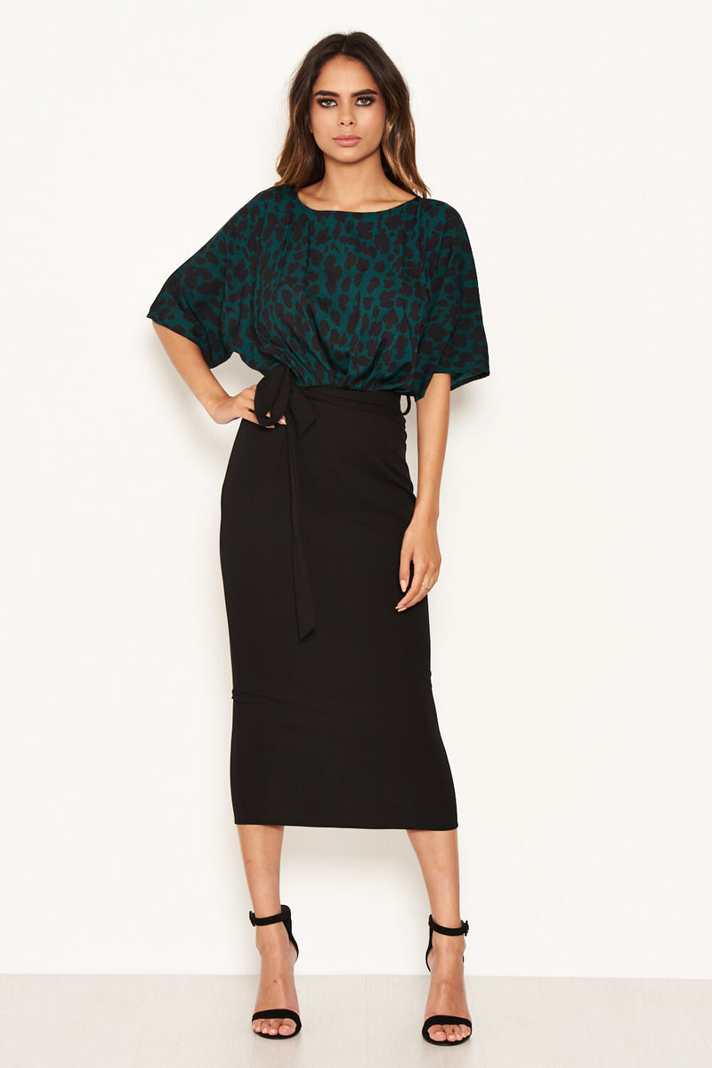 Green Animal Print 2 In 1 Midi Dress