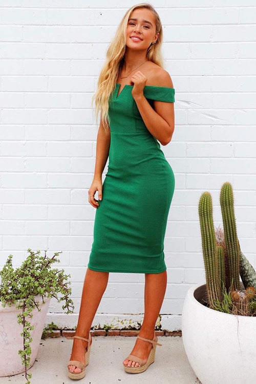 Green Bardot Bodycon Dress
