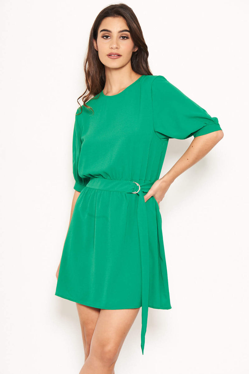 Green Belted D Ring Skater Dress