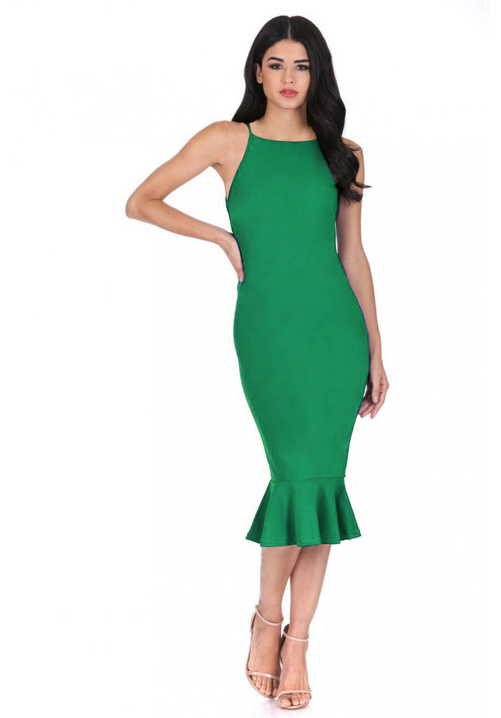 Green Bodycon Midi Dress With Frill Hem