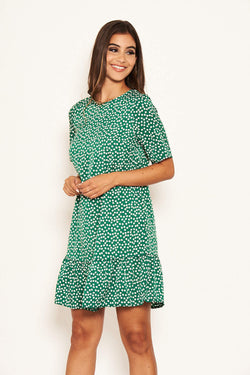 Green Floral Frill Hem T-Shirt Dress