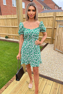Green Floral Print Milkmaid Neckline Dress