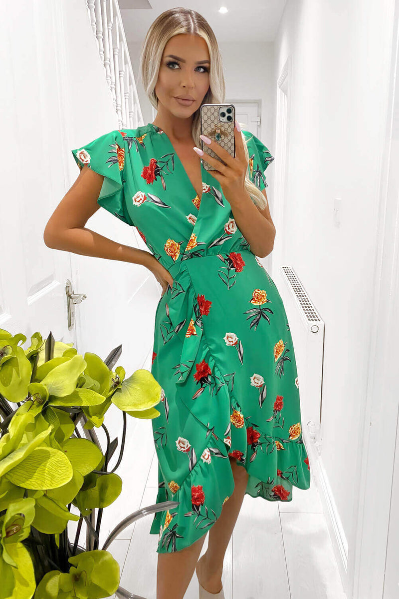 Green Floral Printed Frill Midi Dress