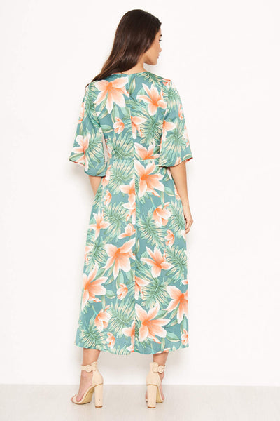 Green Floral Wrap Maxi Dress