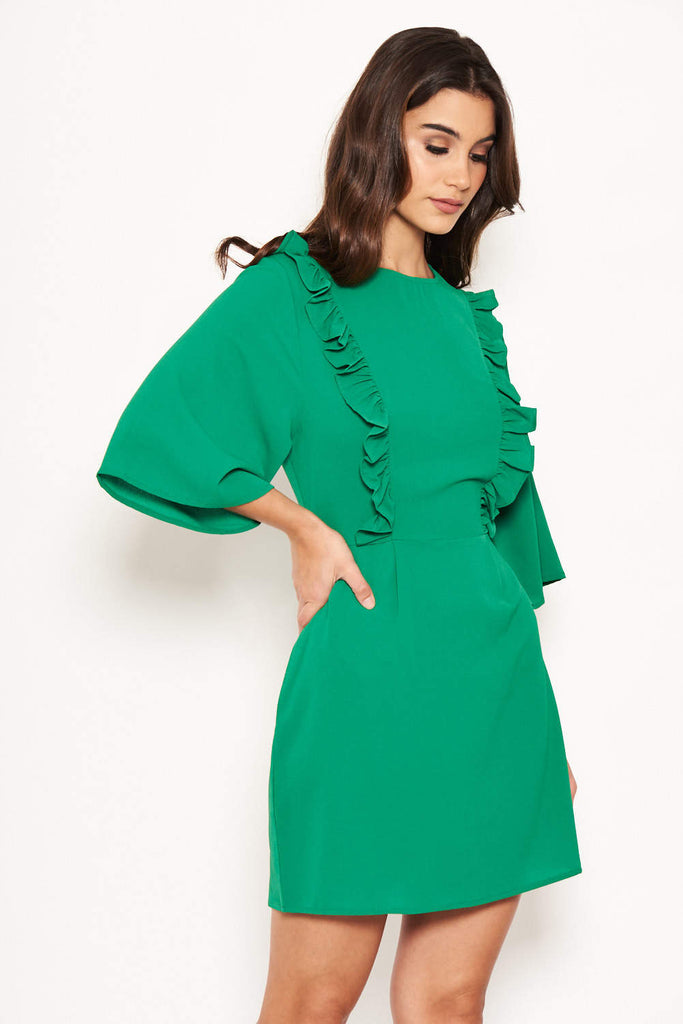 Green Frill Front Dress