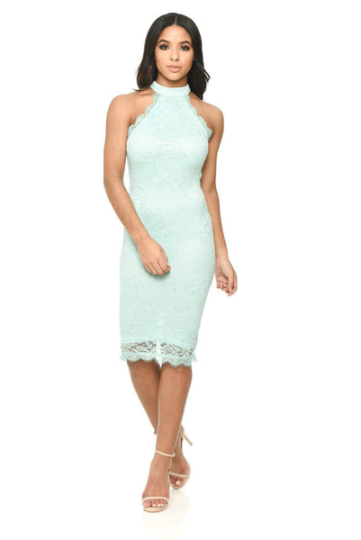 Green Lace High Neck Bodycon