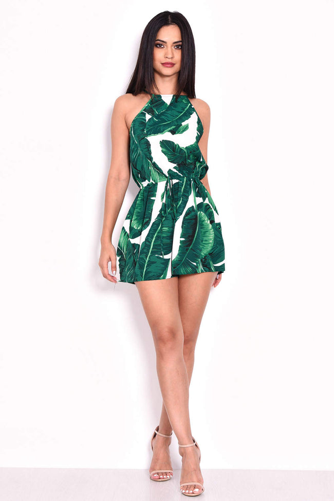Green Leaf Print Tie Waist Playsuit