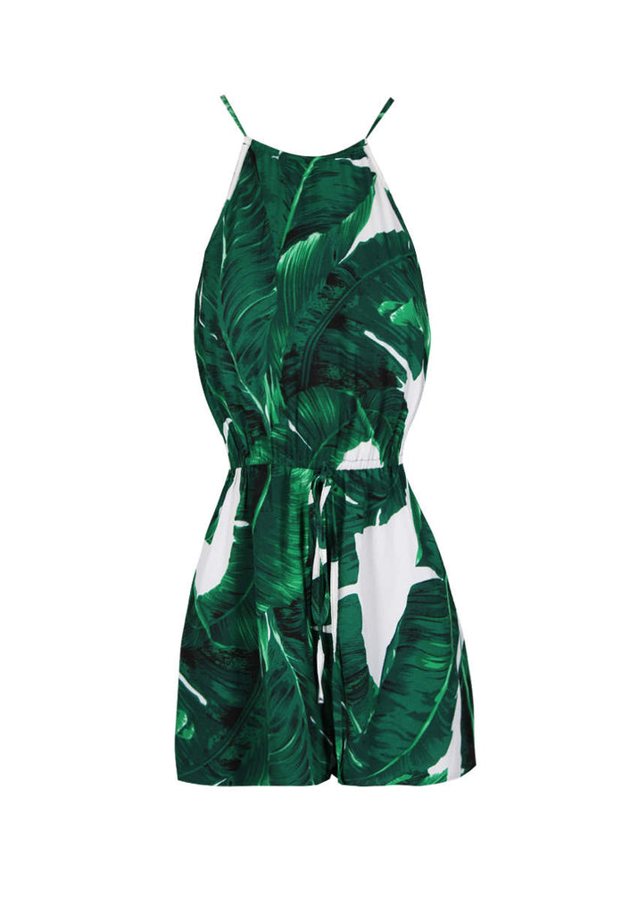 b7585ca753 Green Leaf Print Tie Waist Playsuit – AX Paris