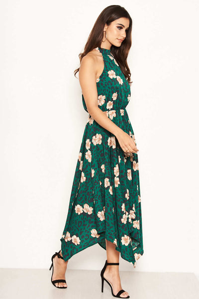 Green Leopard Print High Neck Dress