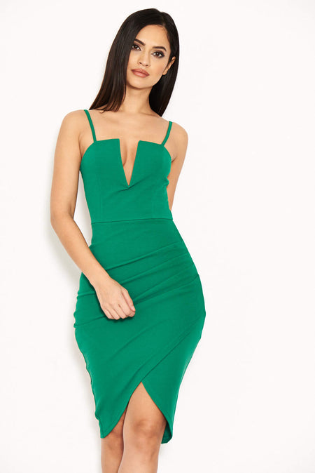 Green Cold Shoulder Frill Detail Midi Dress