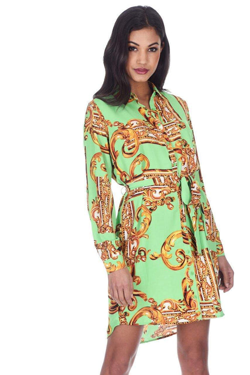 Green Patterned Shirt Dress