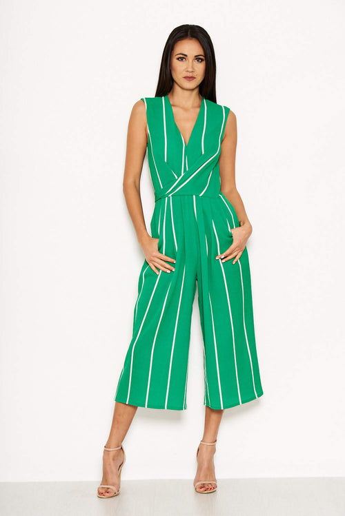 Green Pin Striped Culotte Jumpsuit