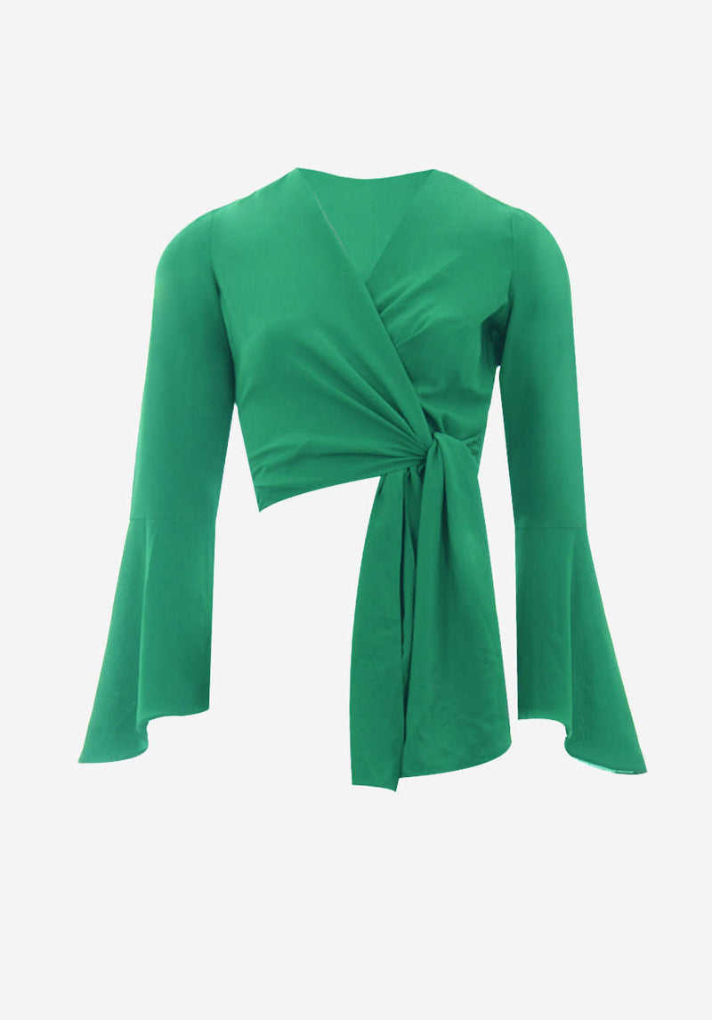 Green Plunge Tie Front Top