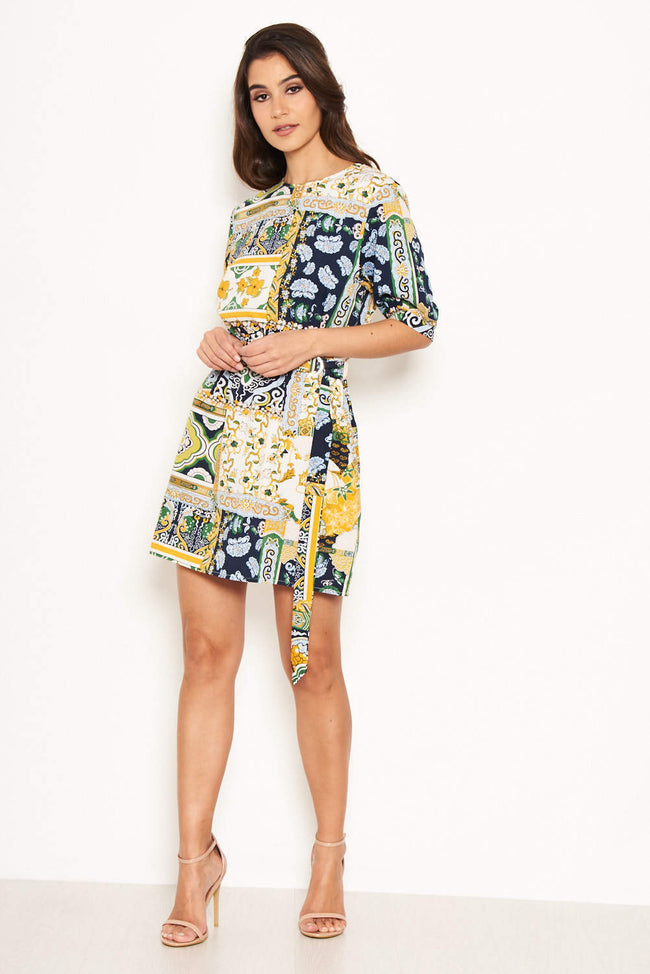 Green Printed Belted Day Dress