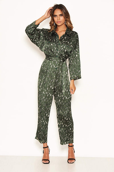 Green Printed Button Up Jumpsuit