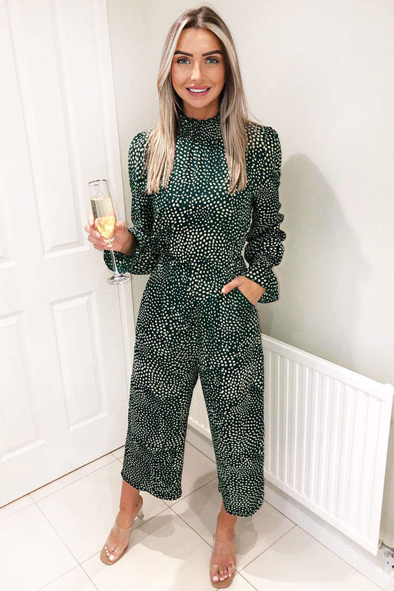 Green Printed Elasticated Neck Culotte Jumpsuit