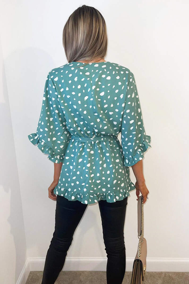 Green Printed Frill Sleeve Wrap Top