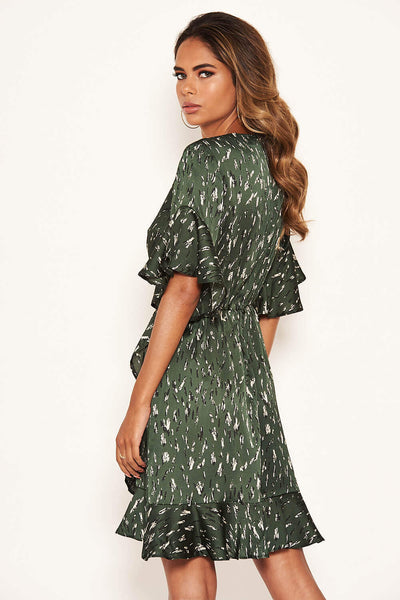 Green Printed Full Wrap Mini Dress
