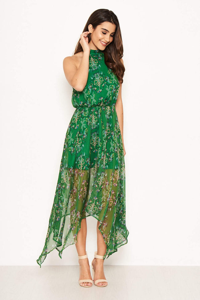 Green Printed Halterneck Midi Dress