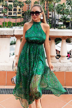Green Printed Halterneck Maxi Dress