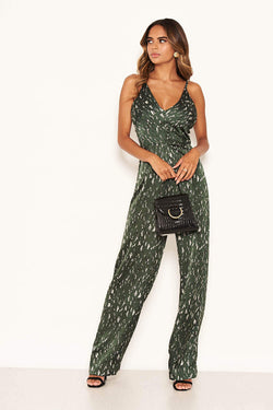 Green Printed Satin Wide Leg Jumpsuit