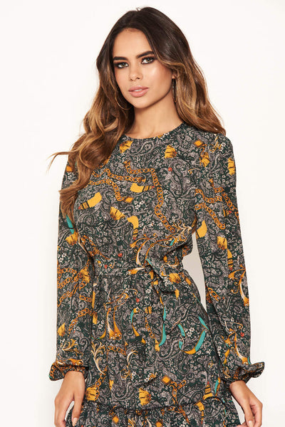 Green Printed Tie Waist Ruffle Hem Dress