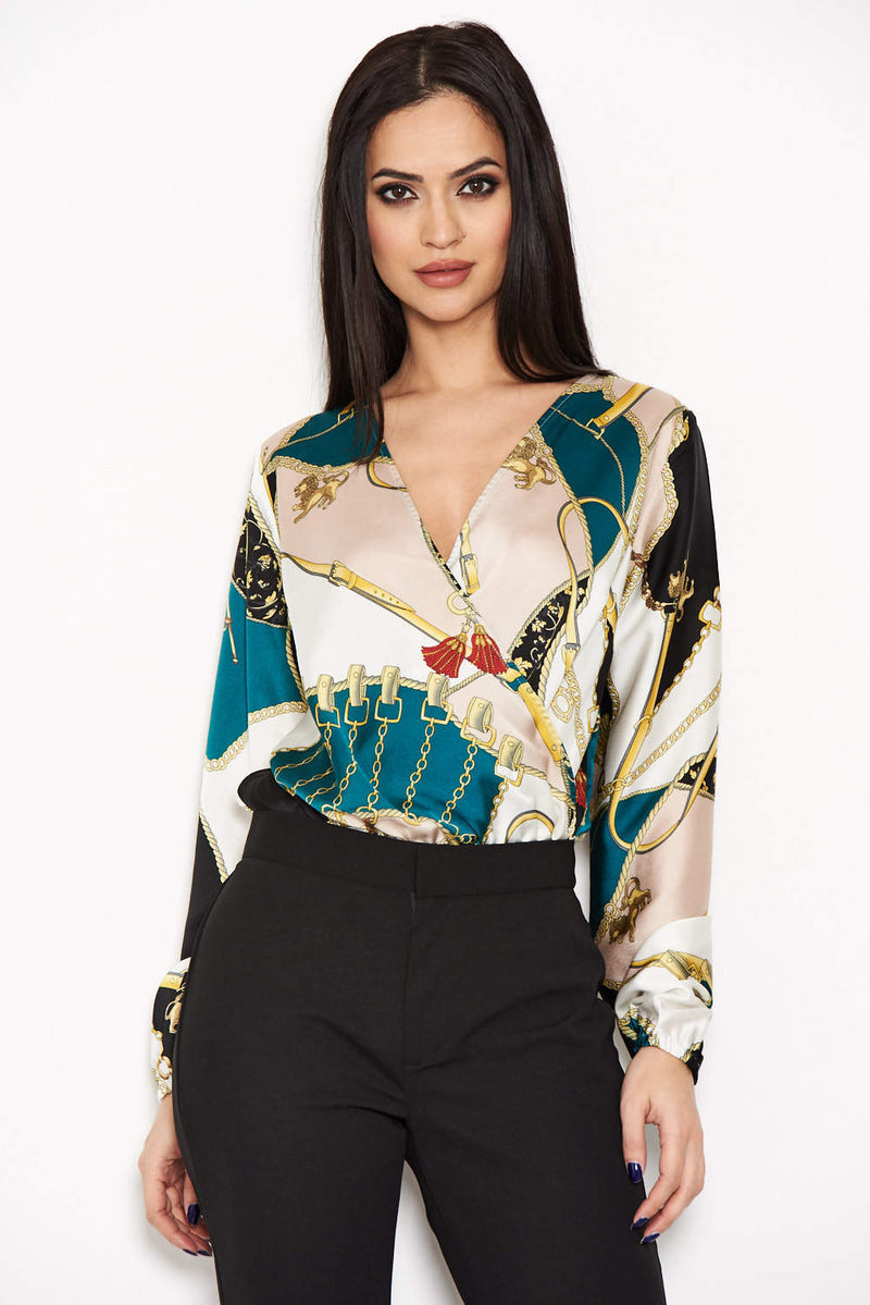 Green Printed Wrap Bodysuit