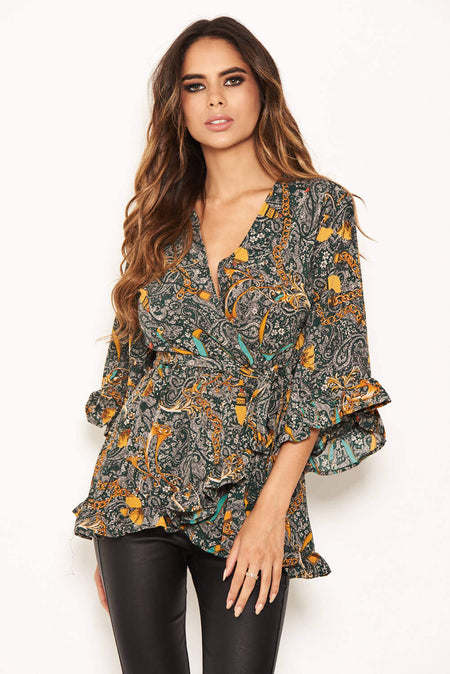 Blue Printed Wrap Over Top