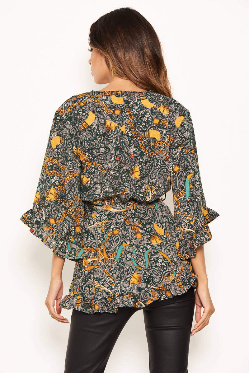 Green Printed Wrap Frill Top