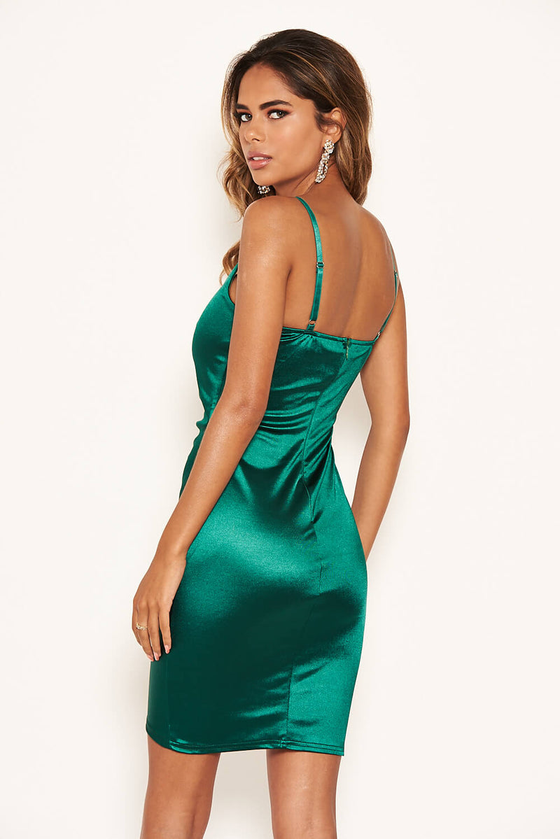 Green Ruched Front Satin Dress