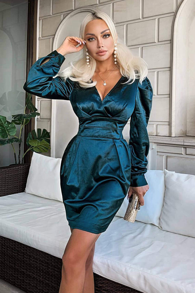 Green Satin Bodycon V Neck Dress