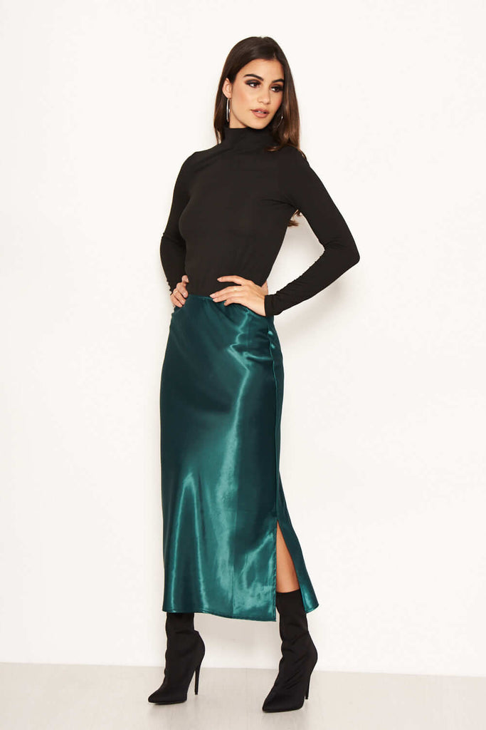 Green Satin Midi Skirt