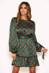 Green Spotty Dress With Frill Hem