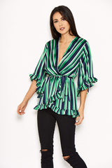Green Striped Frill Tie Top