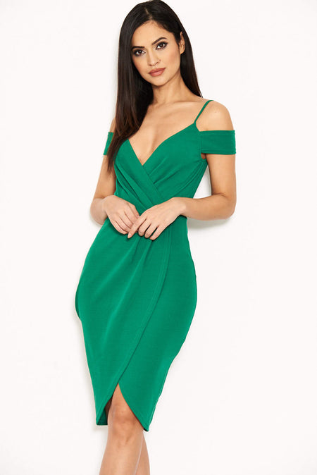Duck Egg One Shoulder Dress With Gold Detail