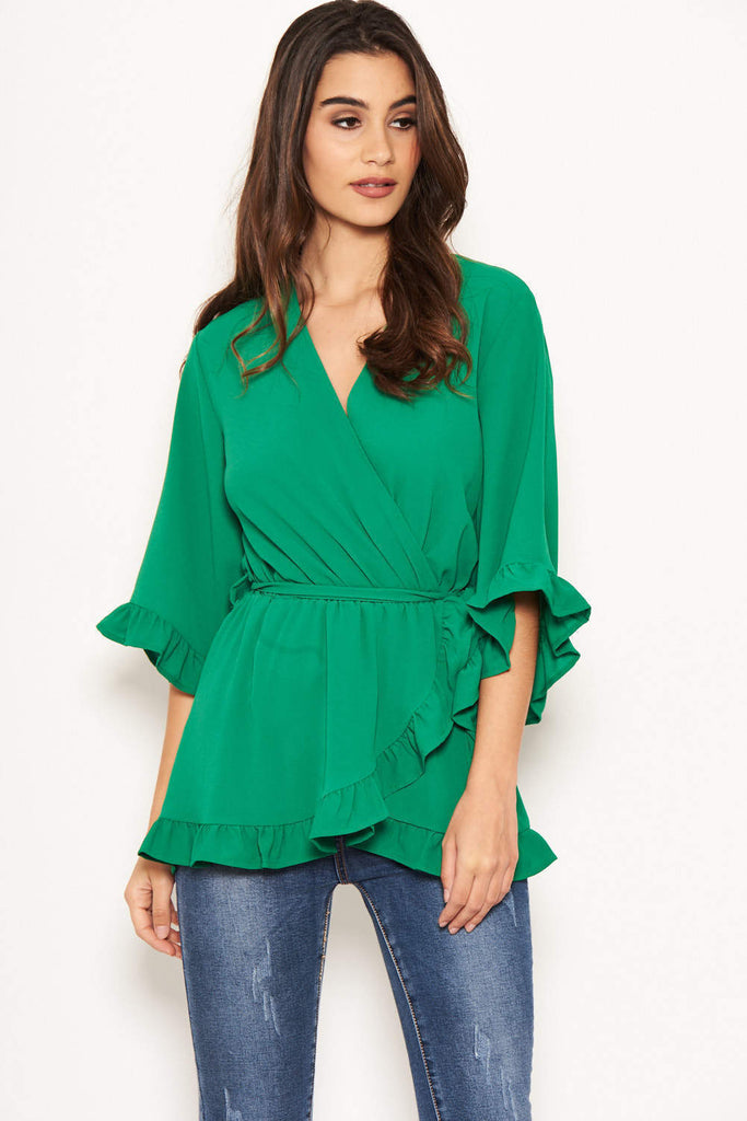 Green Wrap Frill Top